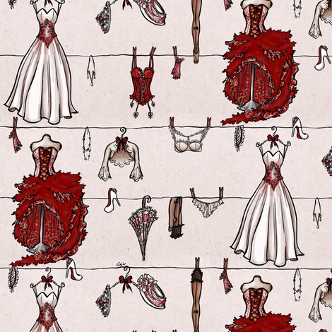 Old school red wedding fabric by loeff on Spoonflower - custom fabric