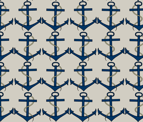 Blue Anchors fabric by susiprint on Spoonflower - custom fabric