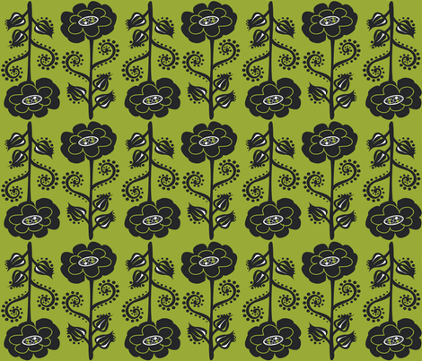 Fun & Funky Flowers on Moss Green fabric by linda_santell on Spoonflower - custom fabric