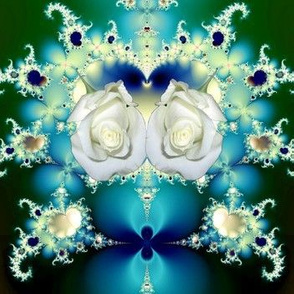 Fractal: White Roses, Lace & Blue Satin