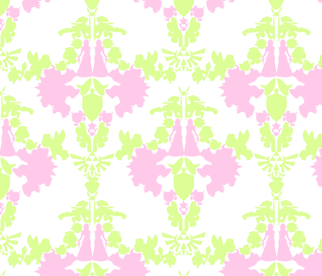 Super Mario & Legend of Zelda Damask - Pink Limeaid fabric by montyfull on Spoonflower - custom fabric