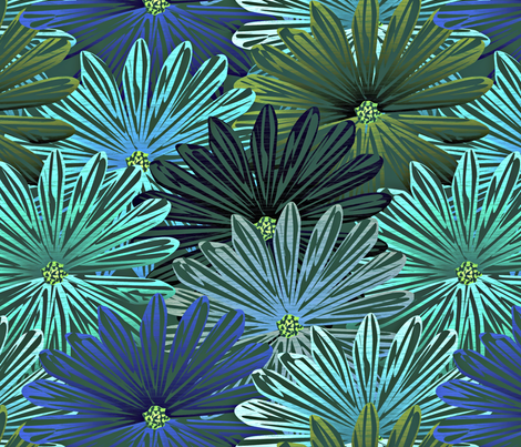 big flowers blue fabric by glimmericks on Spoonflower - custom fabric