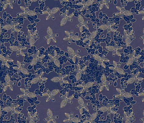 African Lace in Midnight Blue fabric by bloomingwyldeiris on Spoonflower - custom fabric