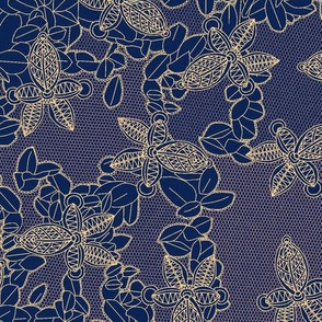 African Lace in Midnight Blue