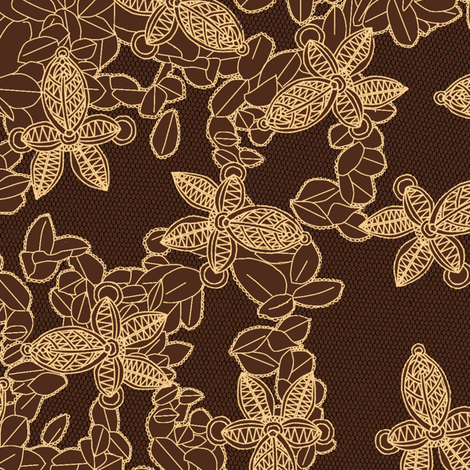 African Faux Lace in Coffee Brown fabric by bloomingwyldeiris on Spoonflower - custom fabric