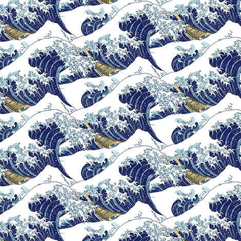 "the tiny waves of Hokusai (6"") fabric by weavingmajor on Spoonflower - custom fabric"