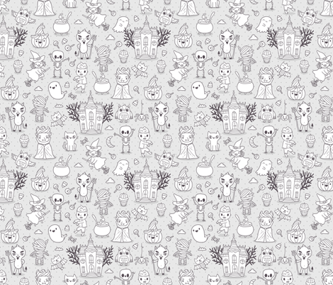 Cute Halloween Grey and White fabric by kostolom3000 on Spoonflower - custom fabric