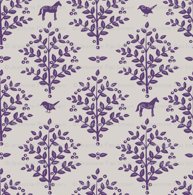 woodland birds and horses