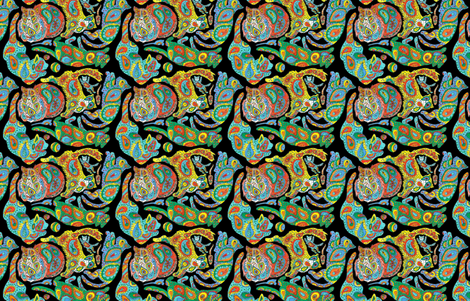Paisley Kitties on Black fabric by eclectic_house on Spoonflower - custom fabric