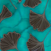 Green ginkgo leaves on teal blue