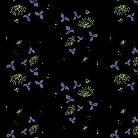 lantana - black fabric by randomarticle on Spoonflower - custom fabric