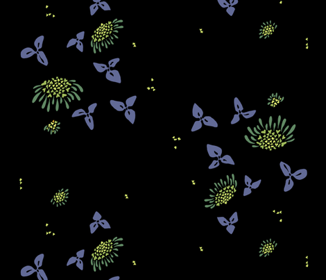 big lantana - black fabric by randomarticle on Spoonflower - custom fabric