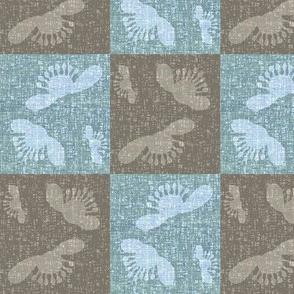 Falling blossoms - checkered in blue & granite-ed