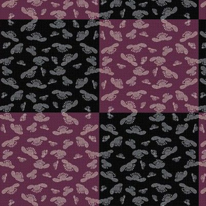 falling blossoms - checkered in plum and black -ed