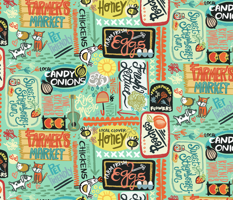 Farmer's Market Fun fabric by gsonge on Spoonflower - custom fabric