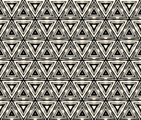 Geometric ethnic pattern in black and white fabric by tukkki on Spoonflower - custom fabric