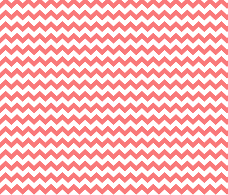chevron i think i ♥ u coral and white fabric by misstiina on Spoonflower - custom fabric