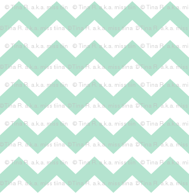 chevron i think i ♥ u mint green