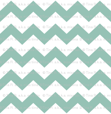 chevron i think i ♥ u faded teal and white