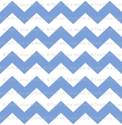 chevron i think i ♥ u cornflower blue and white