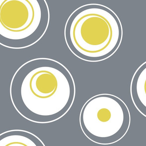 Contemporary Circles in white, grey and yellow