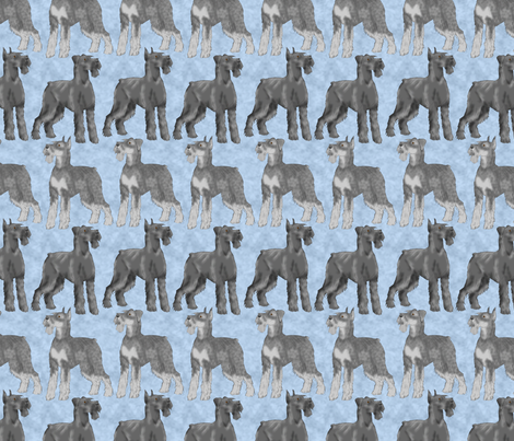 Posing Giant Schnauzers - blue fabric by rusticcorgi on Spoonflower - custom fabric