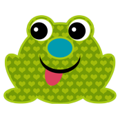 Green Cute Heart Frog with Tongue