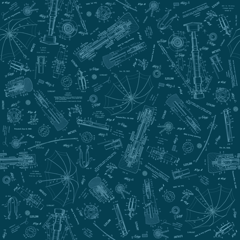 Blueprint Umbrella fabric by brainsarepretty on Spoonflower - custom fabric