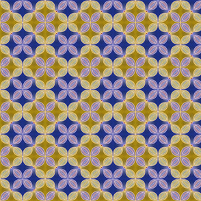 Geometric floral, Blue and Gold
