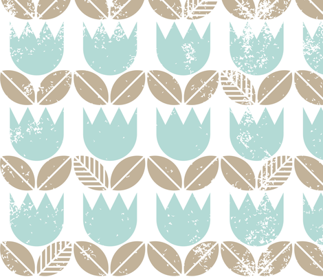 bluetulipsgrungeonwhiteseamless fabric by demonique on Spoonflower - custom fabric