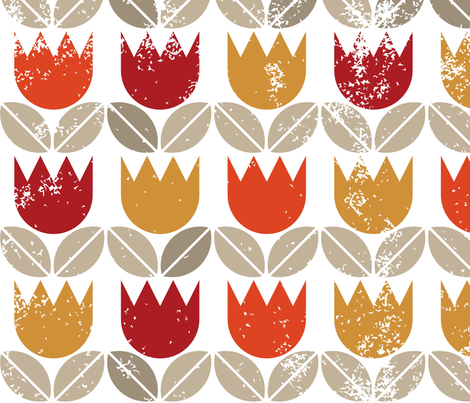 redyelloworangetulipsgrungeonwhiteseamless fabric by demonique on Spoonflower - custom fabric