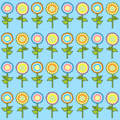 Yellow, Blue, Pink & Orange Retro Flower Print 2