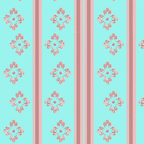 Pink flowers and vertical lines.