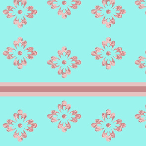 Pink flowers and horizontal lines.