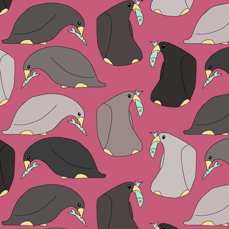 Penguins and Fish fabric by pond_ripple on Spoonflower - custom fabric
