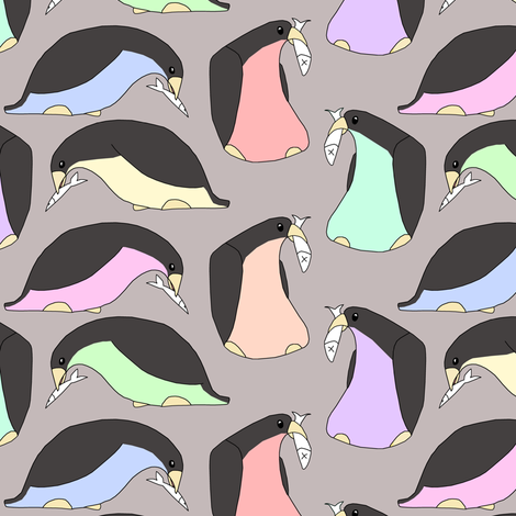 Colored Penguins and Fish fabric by pond_ripple on Spoonflower - custom fabric