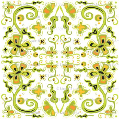 Bohemian Flowers on White6x6