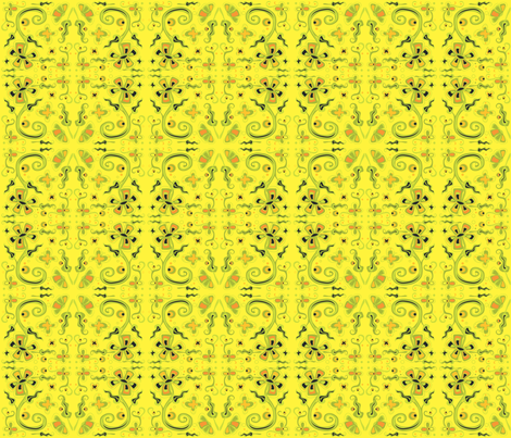 Bohemian Flowers on Yellow 6x6 fabric by linda_santell on Spoonflower - custom fabric