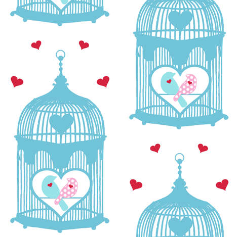 Birdcage Love Birds fabric by lovelyjubbly on Spoonflower - custom fabric