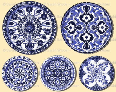 Trompe l'Oeil Plates ~ Blue & White on Buttercream