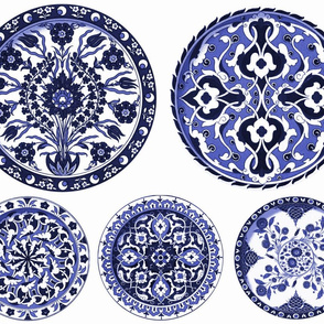 Blue & White China Plates