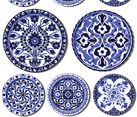 Trompe l'Oeil Plates ~ Blue & White fabric by peacoquettedesigns on Spoonflower - custom fabric