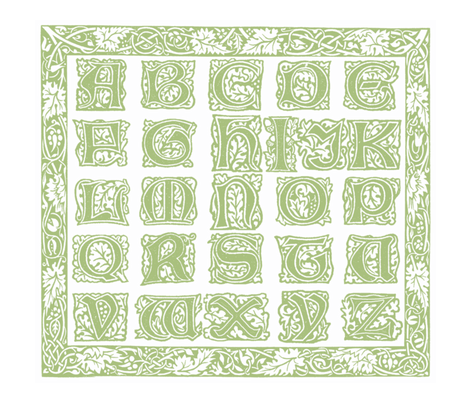 William Morris Alphabet Block Cheater Quilt ~ Sage & White fabric by peacoquettedesigns on Spoonflower - custom fabric