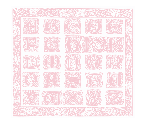 William Morris Alphabet Block Cheater Quilt ~ Pink & White fabric by peacoquettedesigns on Spoonflower - custom fabric