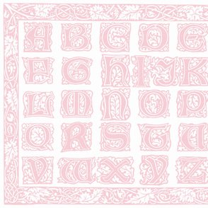 William Morris Alphabet Block Cheater Quilt ~ Pink & White