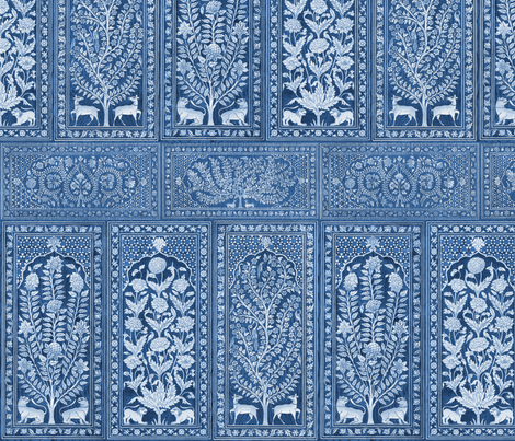 Nonsuch Palace Wood Panels ~ Blue & White fabric by peacoquettedesigns on Spoonflower - custom fabric