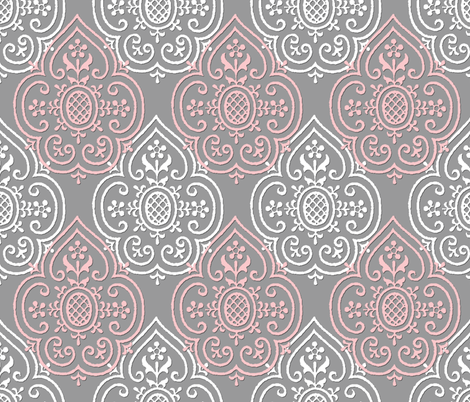 Lace Medallion ~ Dauphine and White on Pewter fabric by peacoquettedesigns on Spoonflower - custom fabric