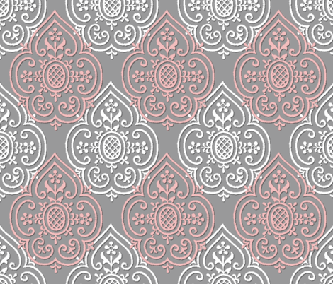 Lace Medallion ~ Grey, Pink & White fabric by peacoquettedesigns on Spoonflower - custom fabric