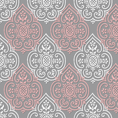 Lace Medallion ~ Grey, Pink & White