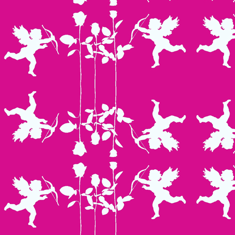Cupids and Roses on Pink